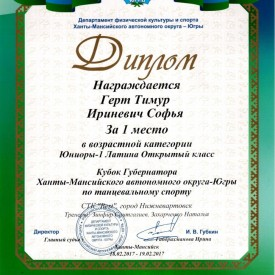 """Диплом """"Кубок Губернатора"""""""