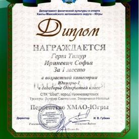 Диплом первенство ХМАО-Югры